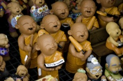 Laughing Monks made of clay